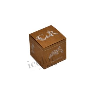 Caja para detalle de boda en papel kraft impreso tinta blanca