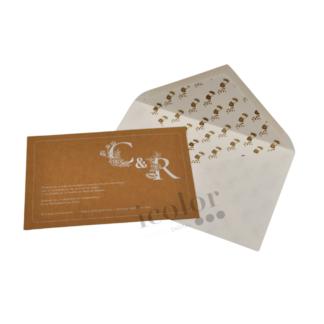 Invitación de boda papel kraft tinta blanca