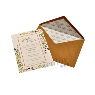 Invitación de boda motivo hojas