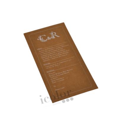 Minuta para boda papel kraft impresa en tinta blanca