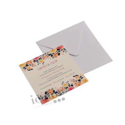 Invitación de boda flores cuadrada