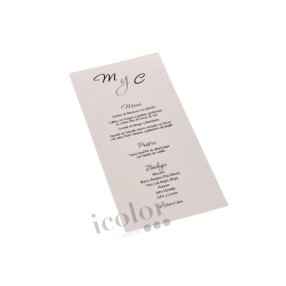 Minuta de boda en papel iridiscente